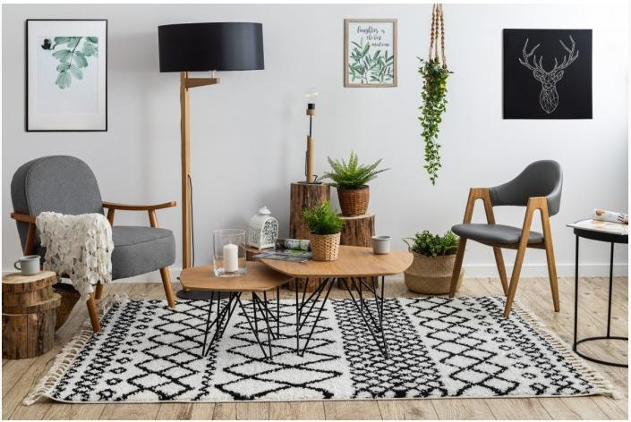 škandinávsky štýl shaggy koberec