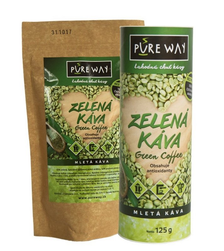 kombinácia praženej a zelenej kávy